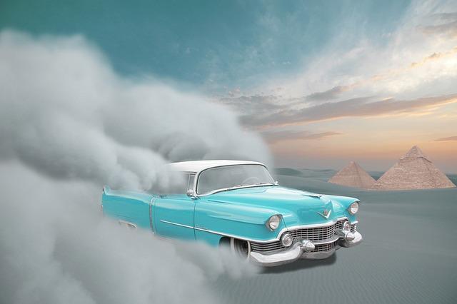Car, Cadillac, Desert, Sand, Sandstorm, Sunset
