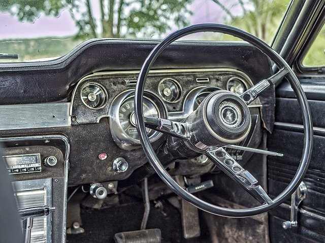 Old, Car, Steering, Wheel, Odometer, Speedometer