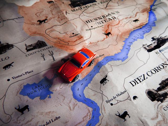 Travel, Map, Toy, Car