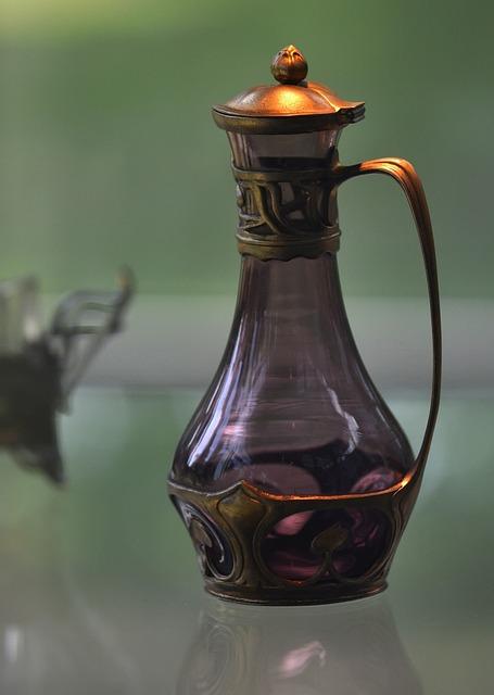 Carafe, Art Nouveau, Glass Mug