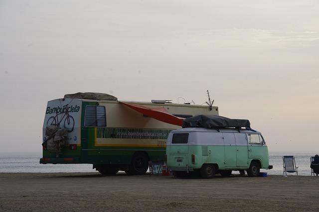 Caravan On A Beach, Rv On A Beach, Caravan, Travel