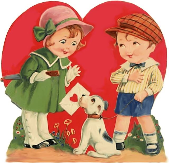 Children, Boy, Girl, Kid, Puppy, Card, Love, Heart
