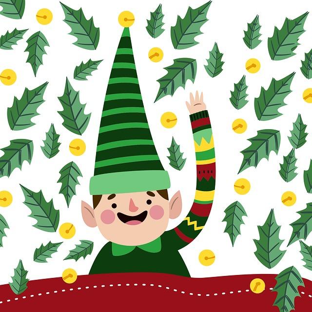 Elf, Christmas, Green Hat, Leaves, Cute, Greeting, Card