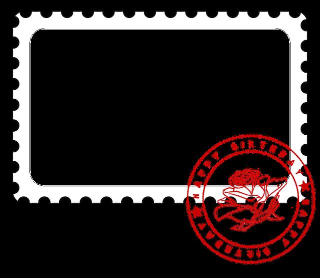 Photo Frame, Postage Stamp, Birthday, Card, Photo