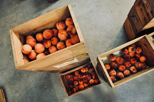 Peach, Wooden Boxes, Fruit, Cardboard, Box, Storage