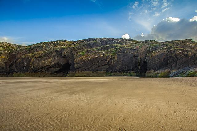 Cardigan Bay, Cave, Beach, Low Tide, Ocean