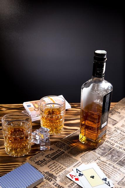 Bottle, Glass, Drink, Alcohol, Whiskey, Poker, Cards