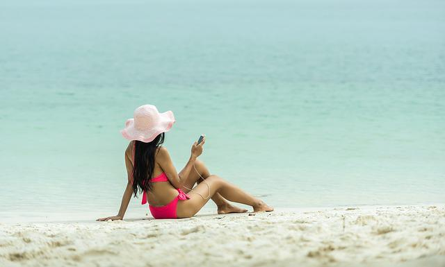 Teenager, Beach, The Bath, Bikini, Caribbean, Cell