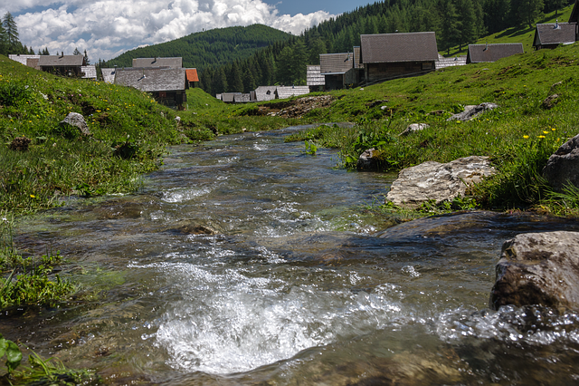 Mountain Stream, Alm, Carinthia, Austria, Nature