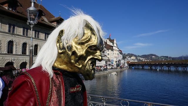 Carnival, Lucerne, Mask, Panel, Fool-time, Water Tower