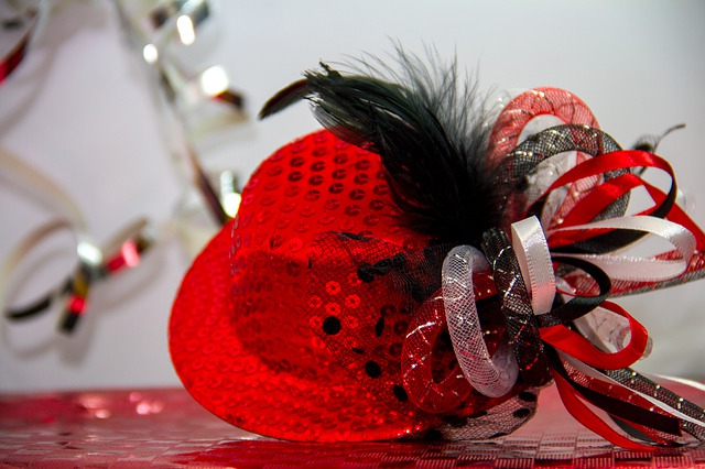 Carnival, Ball Season, Hat, Shiny, Sequins, Red, Panel