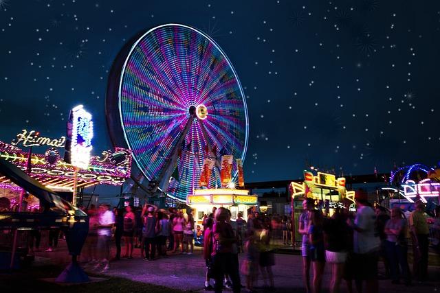 Carnival Rides, Night, Ferris Wheel, Carnival, Fair