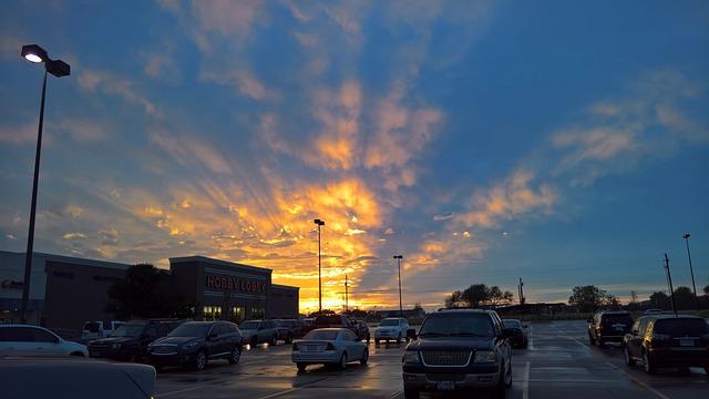 Sunset, Light, Rays, Parking, Cars
