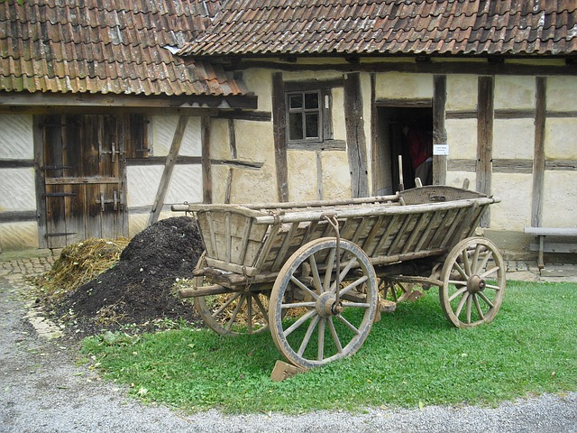 Farm, Cart, Agriculture, Building, Farmhouse