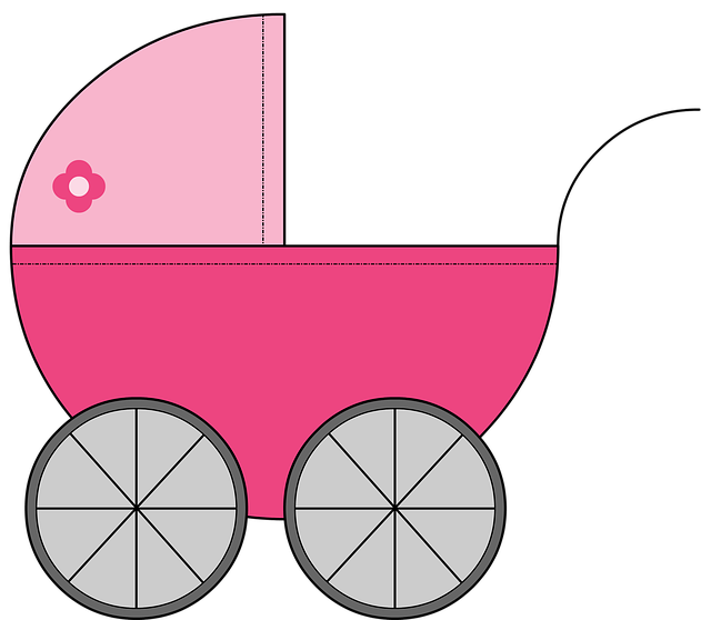 Cart, Baby, Baby Carriage, Girl, Childish, Illustration
