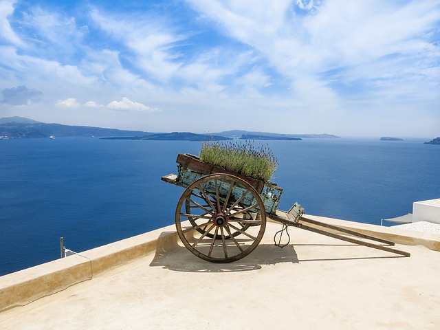 Greece, Sea, Sea View, South, Santorini, Cart, Sky, Sun
