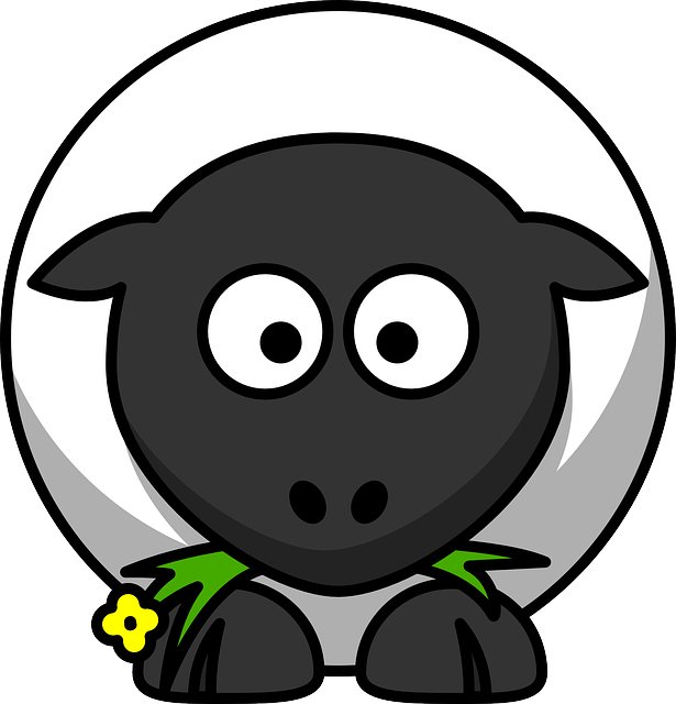 Sheep, Round, Cartoon, Face, Lamb, Eating, Farm, Animal