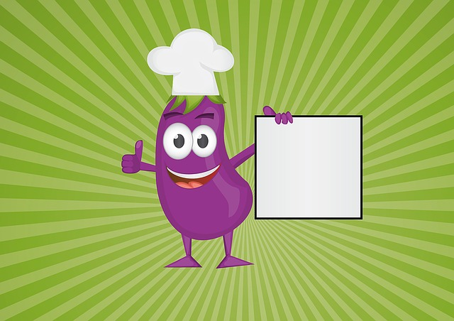 Chef, Aubergine, Cartoon, Vegetable, Character