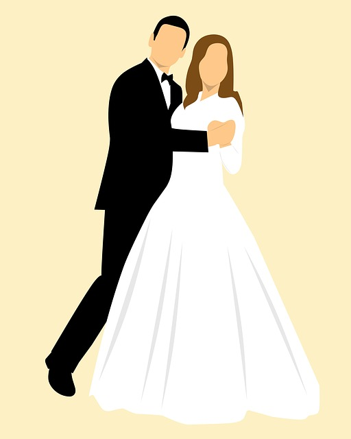 Bride, Couple, Wedding, Art, Beautiful, Cartoon