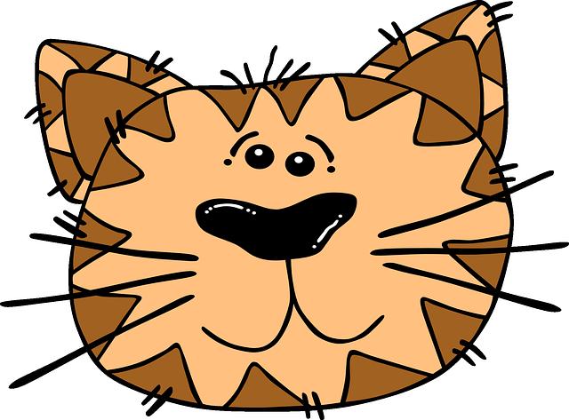 Cat, Face, Cartoon, Striped, Tiger, Animal, Head
