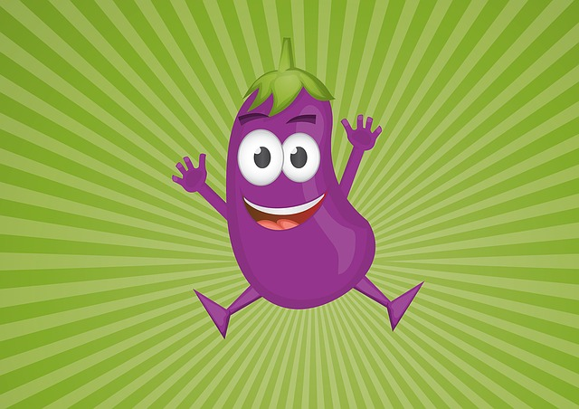 Aubergine, Cartoon, Vegetable, Character, Cheerful