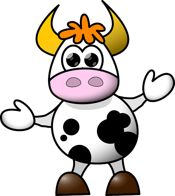 Cow, Cartoon, Funny, Cute, Dancing, Isolated