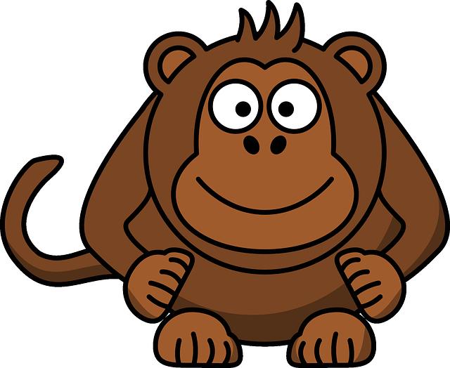 Monkey, Head, Laughing, Sitting, Primate, Cartoon