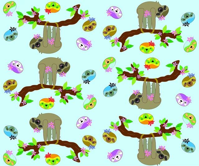 Sloth, Aqua, Blue, Cute, Cartoon, Vector, Tile, Funny