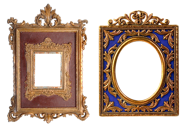 Frame, Carved, Gold, Baguette, Filigreed, Ornament