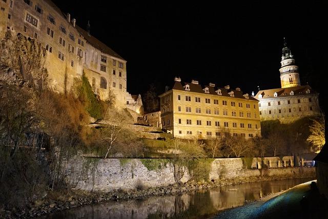 Czech Krumlov, Czech Republic, Castle, At Night