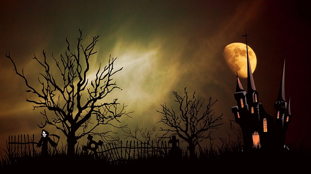 Castle, Ghost Castle, Creepy, Halloween, Tombstone