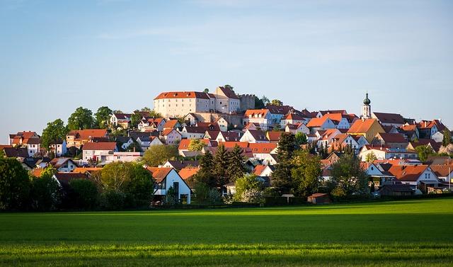 Panorama, Summer, Grass, Sky, Castle, Church, Market