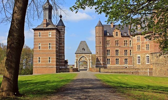 Castle, Castle Merode, Park, Meadow, Trees, Old