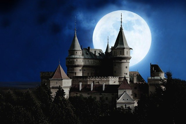 Moon, Castle, Full Moon, Mystical, Night, Mood
