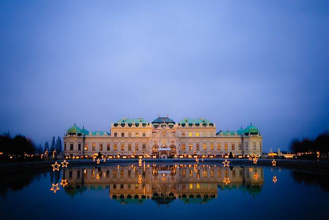 Vienna, Night, Austria, Belvedere, Castle, Mirroring