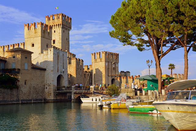 Castle, Porto, Boats, Torre, Sky, Trees, Pini, Sirmione