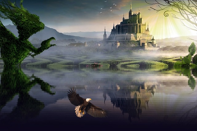 Fantasy, Castle, Reflection, Reflection In The Water
