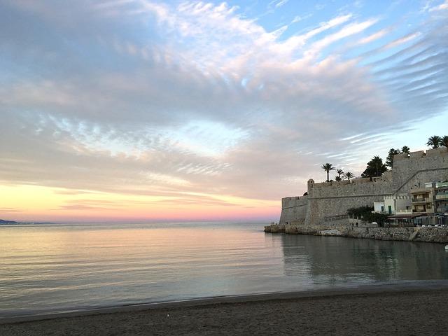 Sea, Sunset, Landscape, Castle, Peñíscola, Sky, Clouds