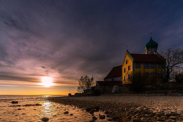 Sunset, Waters, Dusk, Sky, Castle, Architecture