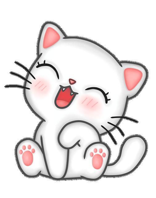 Kawaii, Cat, Kitten, Happy, Tamed, Animal, Tender, Pet