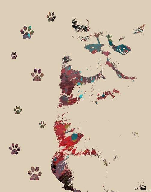 Animal Art, Cat Print, Feline, Paw Prints