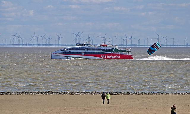 Helgoland Ferry, Catamaran, Mouth Of The Elbe River