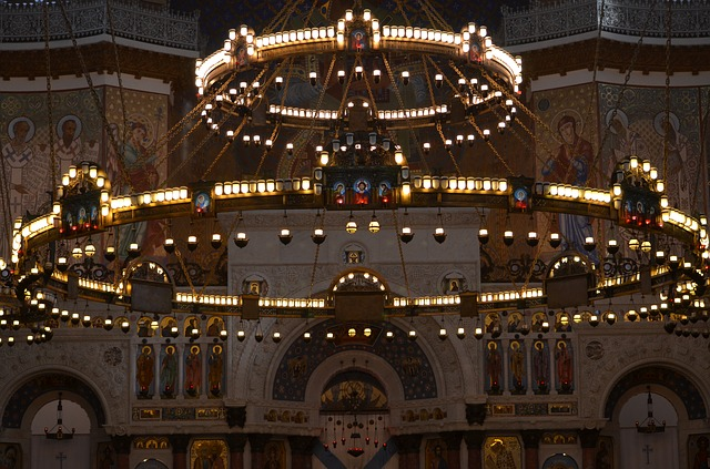 Chandelier, Temple, Cathedral, Church, Russia, Religion