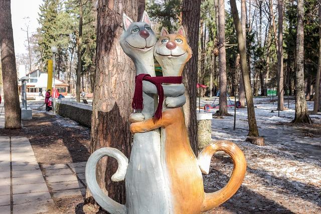 Cats, Park, Sculpture, Art, Object, Handsome Man