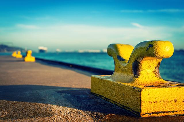 Bollard, Pier, Port, Catwalk, Sea, Elbe, Hamburg