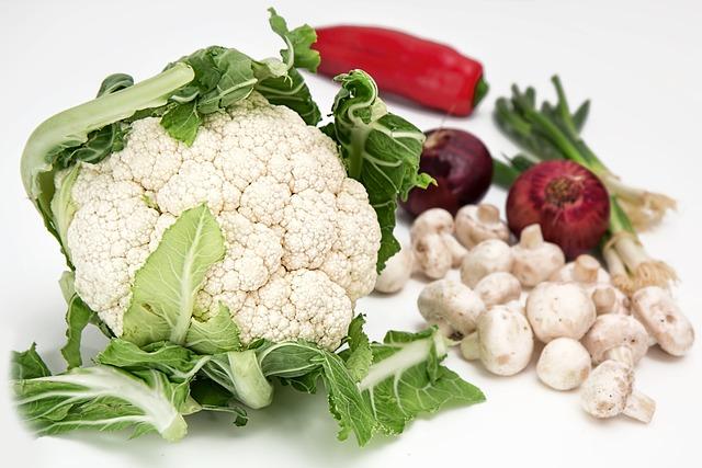 Cauliflower, Vegetables, Mushrooms, Onions, Food