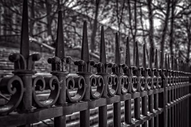 Fence, Iron, Metal, Grid, Great, Caution, Curlicue