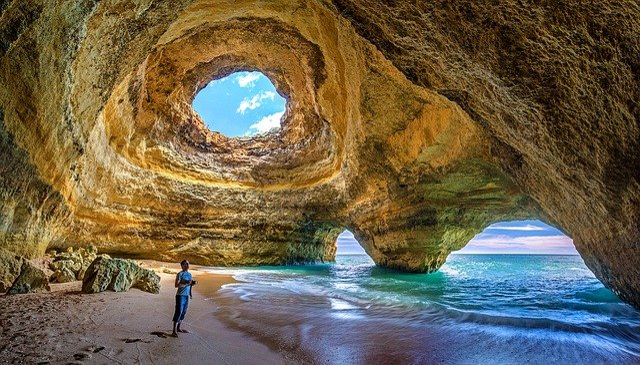 Portugal, Algarve, Benagil, Caves, Selfie