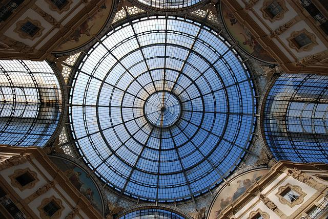 Milan, Gallery, Italy, Stained Glass Window, Ceiling