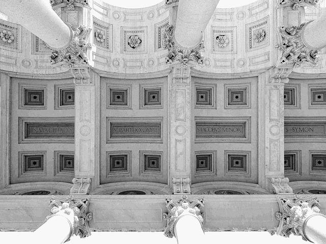 Rome, Lazio, Italy, Black And White, Ceiling, Column